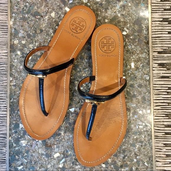 849710b7efb0ae Tory Burch Shoes - Tory Burch T LOGO FLAT THONG SANDAL BLACK 8